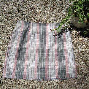 Talbots 14WP gray pink plaid lined skirt